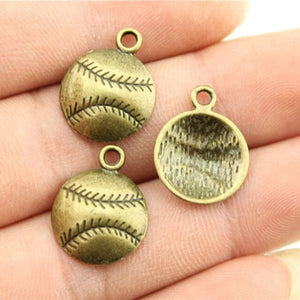 15pcs Baseball Charms Softball Pendants Jewelry Making Sport Charms Jewelry Accessories Antique Bronze Plated