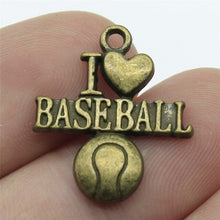 Load image into Gallery viewer, 15pcs Baseball Charms Softball Pendants Jewelry Making Sport Charms Jewelry Accessories Antique Bronze Plated