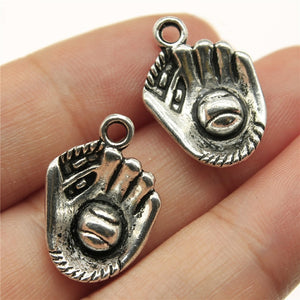 Charms 15pcs Baseball Antique Silver Color 0.8x0.6 Inch (20x14mm) Metal Alloy Jewelry DIY Accessories