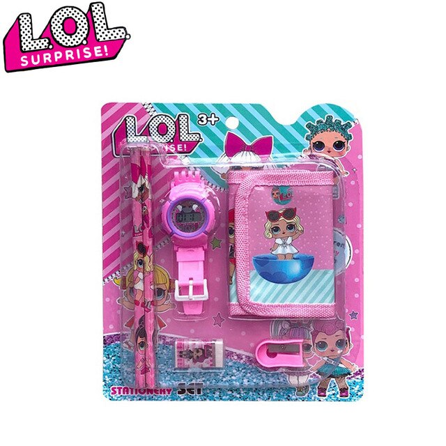 LOL Surprise Dolls Children's Cartoon Electronic Watch Stationery Set Anime Figure Model Girls Toys Gifts
