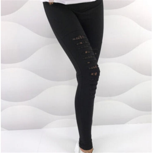Women Stretch Skinny Lace Casual High Waist Jeggings Pencil Pants Trouser New Ladies Black Pant