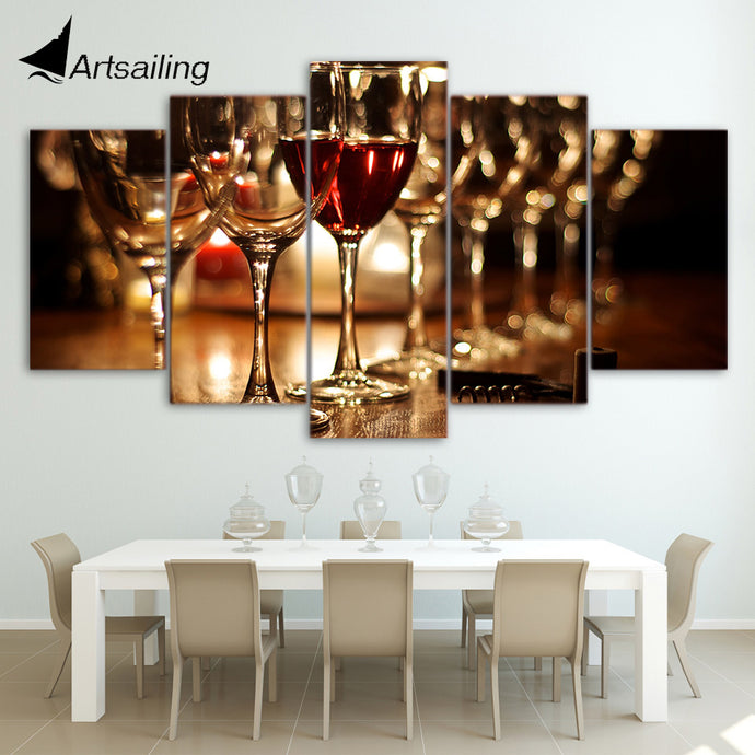 5 piece canvas painting HD Printed glasses wine drink posters and prints wall pictures for living room modern  ny-6705B