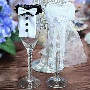 Wedding Party Toasting Wine Glasses Decor Bride & Groom Tux Bridal Veil 1 Pair