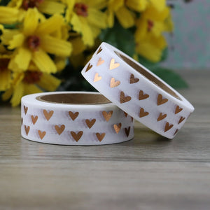 1pc Heart Foil Washi Tape Japanese Paper 1.5cm*10m Kawaii Scrapbooking Tools Masking Tape Xmas Photo Album Diy Decorative Tapes