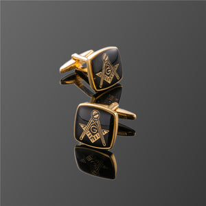 XK391 High quality men's shirts Masonic logo Cufflinks golden / Masonic Cufflinks / men's shirts, clothing accessories