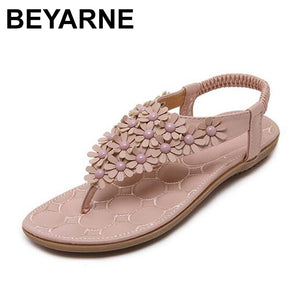 BEYARNE  Summer Bohemia Style Ladies Sandals Flip Flops Women Shoes Small Flowers Big Size Beach Shoes Woman Pink/Grey