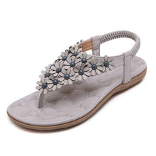 Load image into Gallery viewer, BEYARNE  Summer Bohemia Style Ladies Sandals Flip Flops Women Shoes Small Flowers Big Size Beach Shoes Woman Pink/Grey