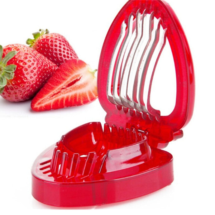 Kitchen Gadgets Strawberry Slicer With Stainless Steel Blade Fruit Carving Tools Salad Cutter Berry Stem Strawberry Cutter