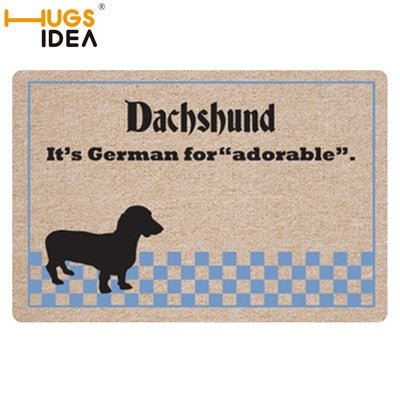 HUGSIDEA Cute 3D Animal Dachshund Dog Print Doormat Living Room Door Rugs Home Decoration Indoor Kitchen Bedroom Carpet 40x60cm