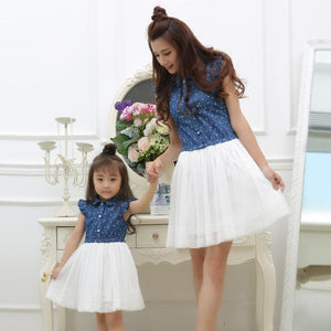 Family matching mother daughter mommy and me clothes family look girls fashion clothing women jeans summer beach dress outfits