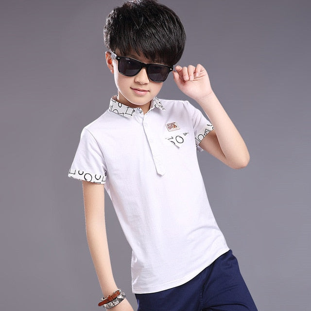 Top quality kids boy polo shirts school uniform shirt boys polo shirt short sleeve cotton clothes for 5 6 7 8 9 10 11 12 years