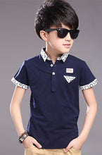 Load image into Gallery viewer, Top quality kids boy polo shirts school uniform shirt boys polo shirt short sleeve cotton clothes for 5 6 7 8 9 10 11 12 years