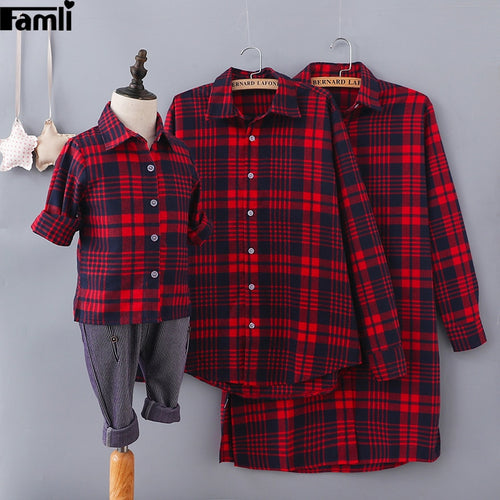 1pc Mom Son Matching Clothes Family Mother Father Kid Autumn Fashion Plaid Cotton Shirts Mommy Me Dress Outfits