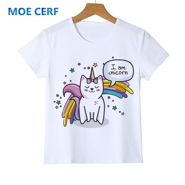 Children Cartoon Funny T shirt Kids Cat/Dog/Unicorn Summer Tops Baby Girls Boys Clothes Top quality Holiday gifts Y14-22