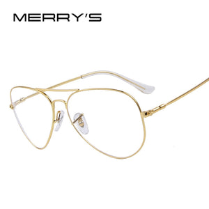 MERRYS Fashion Women Titanium Glasses Frames Men Brand Titanium Eyeglasses Gold Shield Frame With Glasses