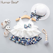 Load image into Gallery viewer, Humor Bear New Summer Baby Girl Clothes Strap Bow Vest + Floral Shorts + Fashion Hat 3Pcs Set Baby Clothing Suit Girls Clothes