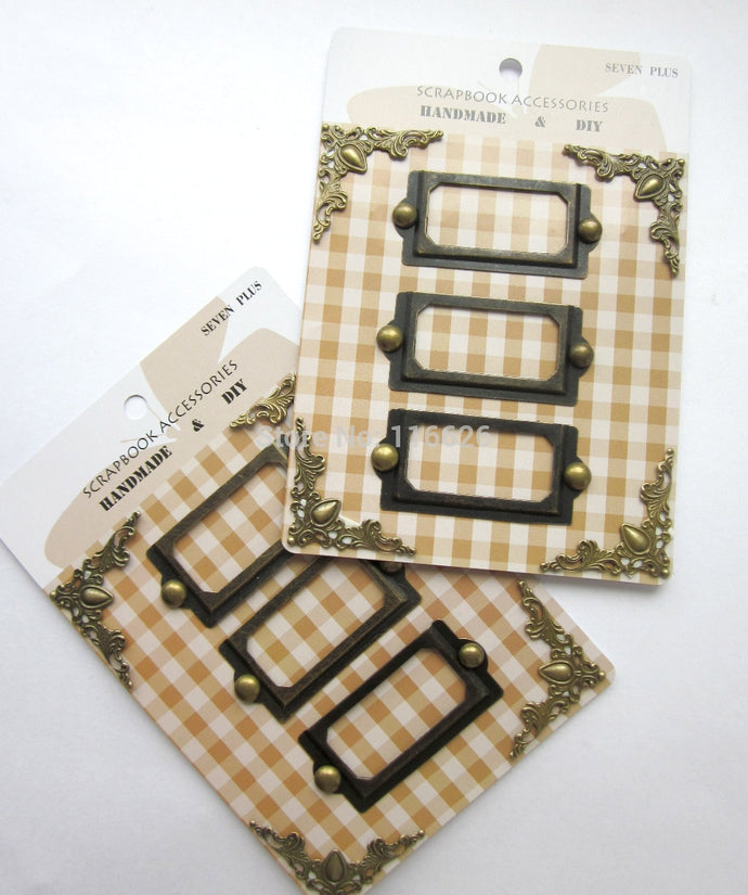 6cards/lot scrapbooking decoration plated metal frame tags w/brads and Bronze book card holder corner label