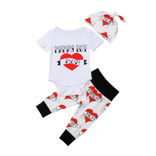 3Pcs Newborn Boy Baby Clothes Sets Romper Tops Short Sleeve Love Print Jumpsuit Pant Hat Outfit 3pcs Cotton Clothes Baby 0-18M