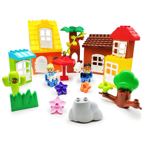 Original Big Building Blocks Bricks tree flower grass door roof Accessory children DIY Toys Compatible with Duplo city set gift