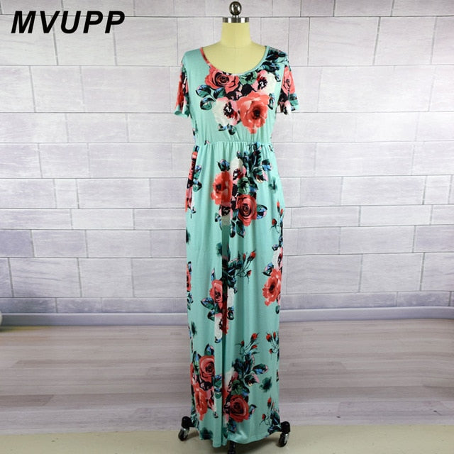 MVUPP 2019 Mommy and me dresses Mother kids Print Fashion Short Sleeve Ankle-Length Matching dress plus size New Family Look
