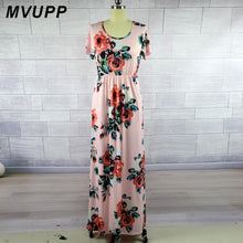 Load image into Gallery viewer, MVUPP 2019 Mommy and me dresses Mother kids Print Fashion Short Sleeve Ankle-Length Matching dress plus size New Family Look