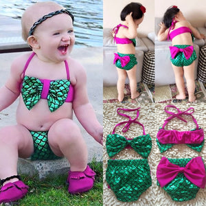 Summer Mermaid Baby Girls Bikini Set Halter Bowknot Swimwear Swimsuit Bathing Suit