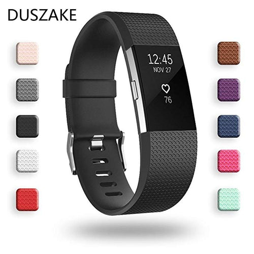 Duszake Silicone Replacement Bands For Fitbit Charge 2 Band Wristband Accessories Wrist Bracelet Strap For Fitbit Charge2 Band