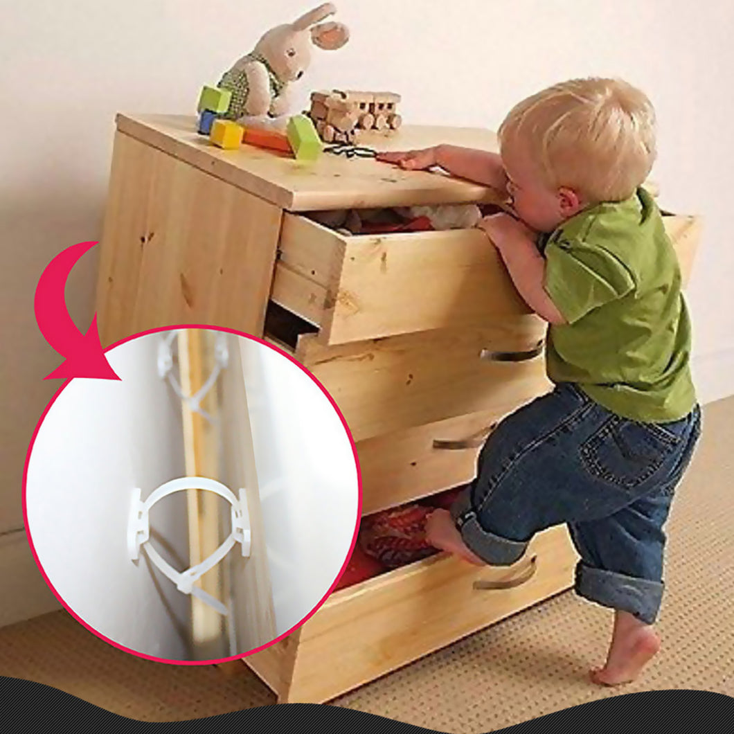 Baby Safety 6 Set Furniture Anti-tip Straps Prevention Device for Kids Children Falling Furniture Prevention Device Protection C