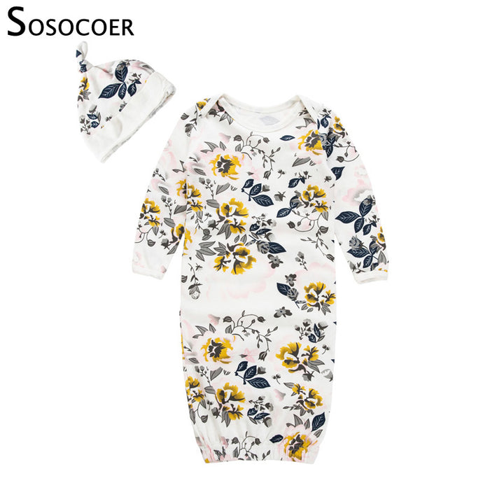 SOSOCOER Baby Pyjamas Sleepwear Infant Sleeper Newborn Gown Floral Bebe Sleep Suit Girl Romper Pajamas Cap Sleeping Bag