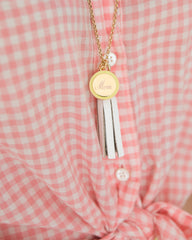 Monogram Charm and Tassel Necklace