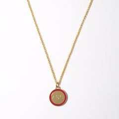 Mini Tag Necklace in Red