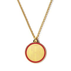 Monogram Tag Necklace in Red
