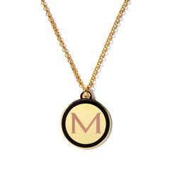 Monogram Tag Necklace in Black