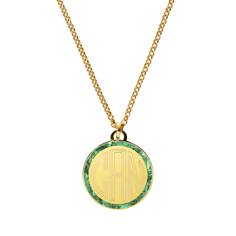 Monogram Tag Necklace in Malachite