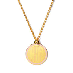 Monogram Tag Necklace in Blush