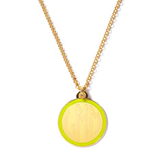 Monogram Tag Necklace in Chartreuse