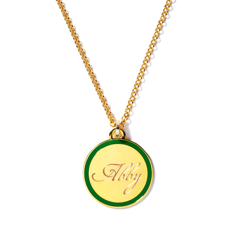 Monogram Tag Necklace in Kelly Green