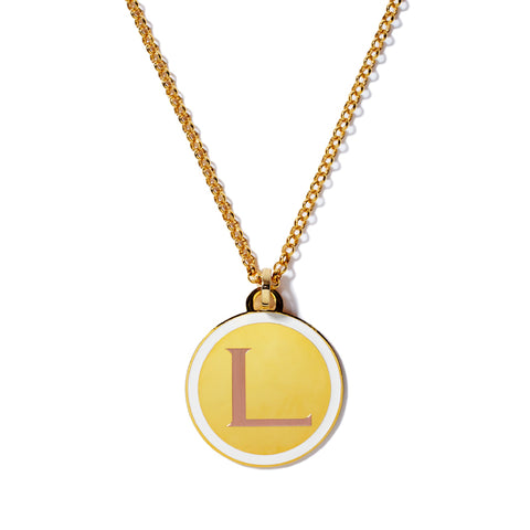 Monogram Tag Necklace in Winter White