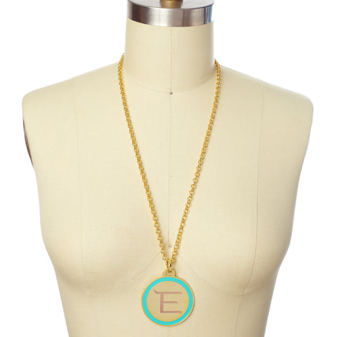 Monogram Tag Necklace in Teal