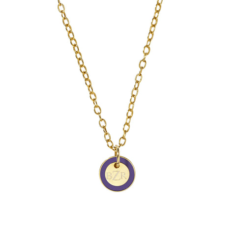 Mini Tag Necklace in Royal Purple_Made in America