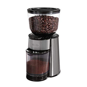 Mr. Coffee Automatic Burr Mill Coffee Grinder with 18 Custom Grinders, Silver: