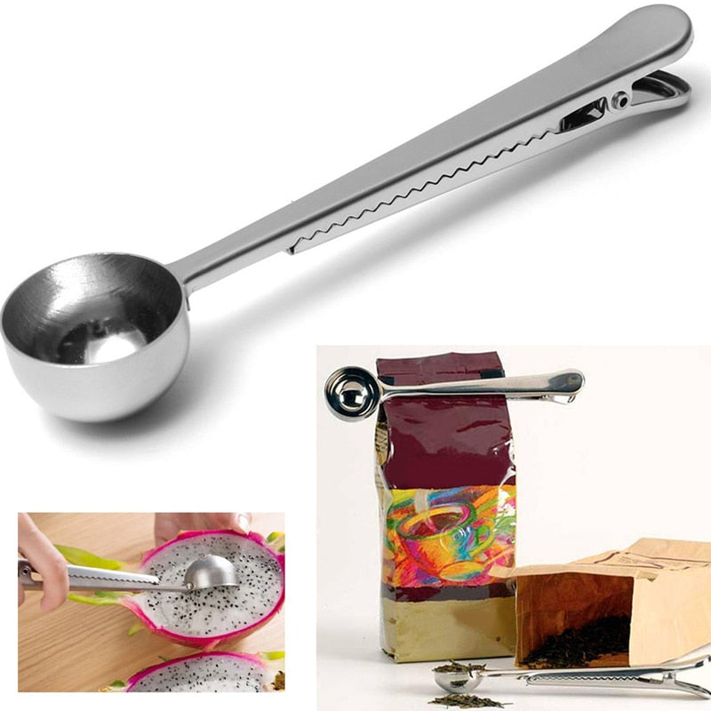 Stainless Steel Coffee Scoop With Clip