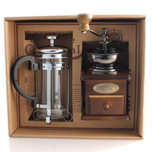 Load image into Gallery viewer, French Press Pot Coffee with Wooden Coffee Bean Grinder