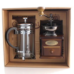 French Press Pot Coffee with Wooden Coffee Bean Grinder