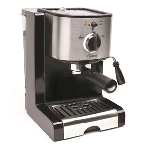 Capresso EC100 Pump Espresso and Cappuccino Machine Bundle with Knox Milk Frother, Frothing Pitcher and Espresso Tamper