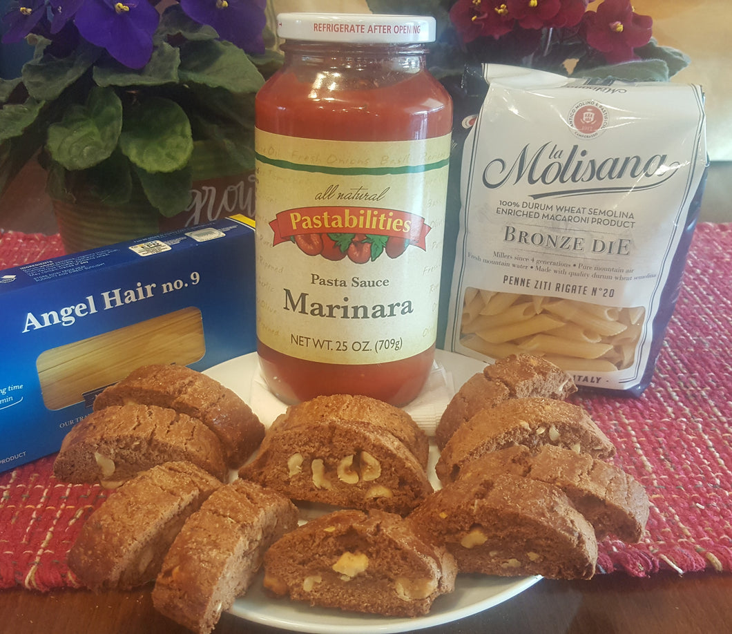 #17 Sample Pack- 1 Jar marinara, 1 Penne Pasta, 1/2 lb. Chocolate Hazelnut Biscotti Cookies