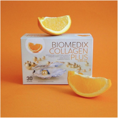 Nahrungsergänzungsmittel für gesunde Haut Biomedix Collagen Plus Orange