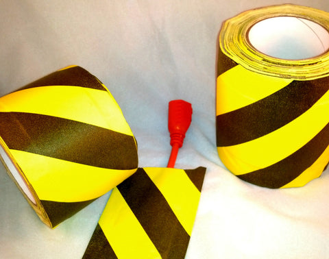 Cable Path Tape, Yellow and Black Striped Gaffer's Tape with non-adhesive zone in center for cables and wires