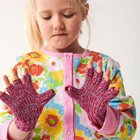 Very Berry Speckles Rib Knitted Fingerless Mittens