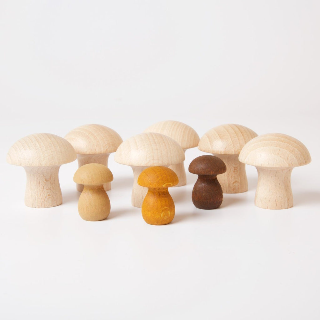 Wood Natural Mushrooms Wooden Toys Grapat